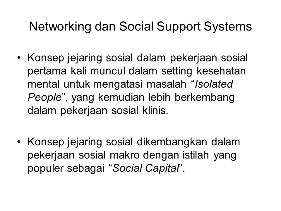 Networking dan Social Support Systems