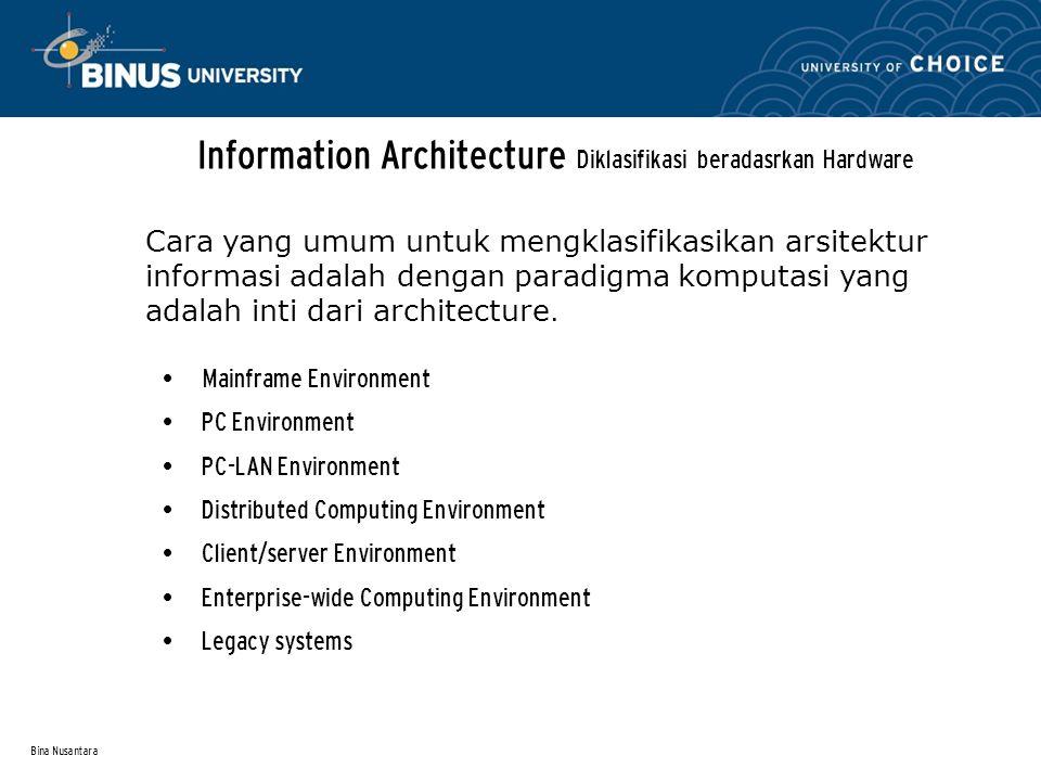 Information Architecture Diklasifikasi beradasrkan Hardware
