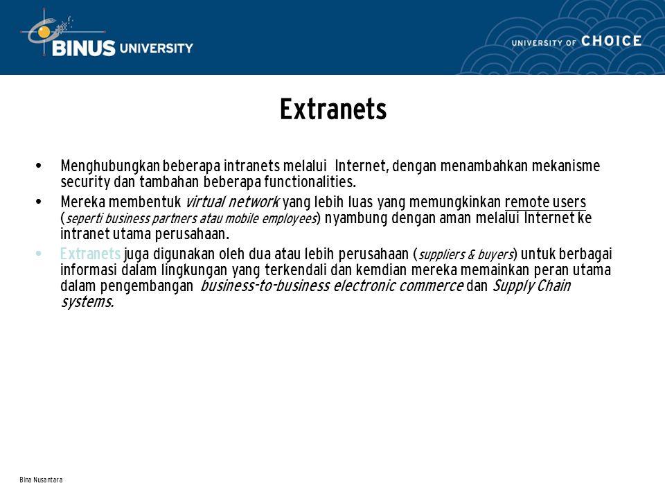 Extranets Menghubungkan beberapa intranets melalui Internet, dengan menambahkan mekanisme security dan tambahan beberapa functionalities.