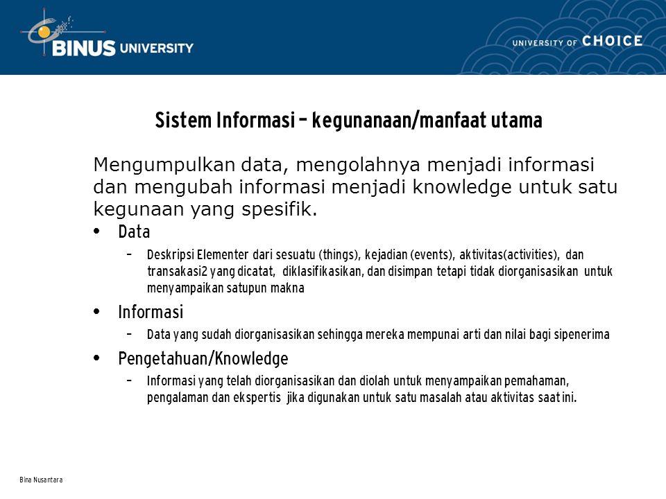 Sistem Informasi – kegunanaan/manfaat utama
