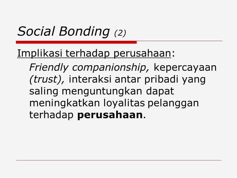 Social Bonding (2) Implikasi terhadap perusahaan: