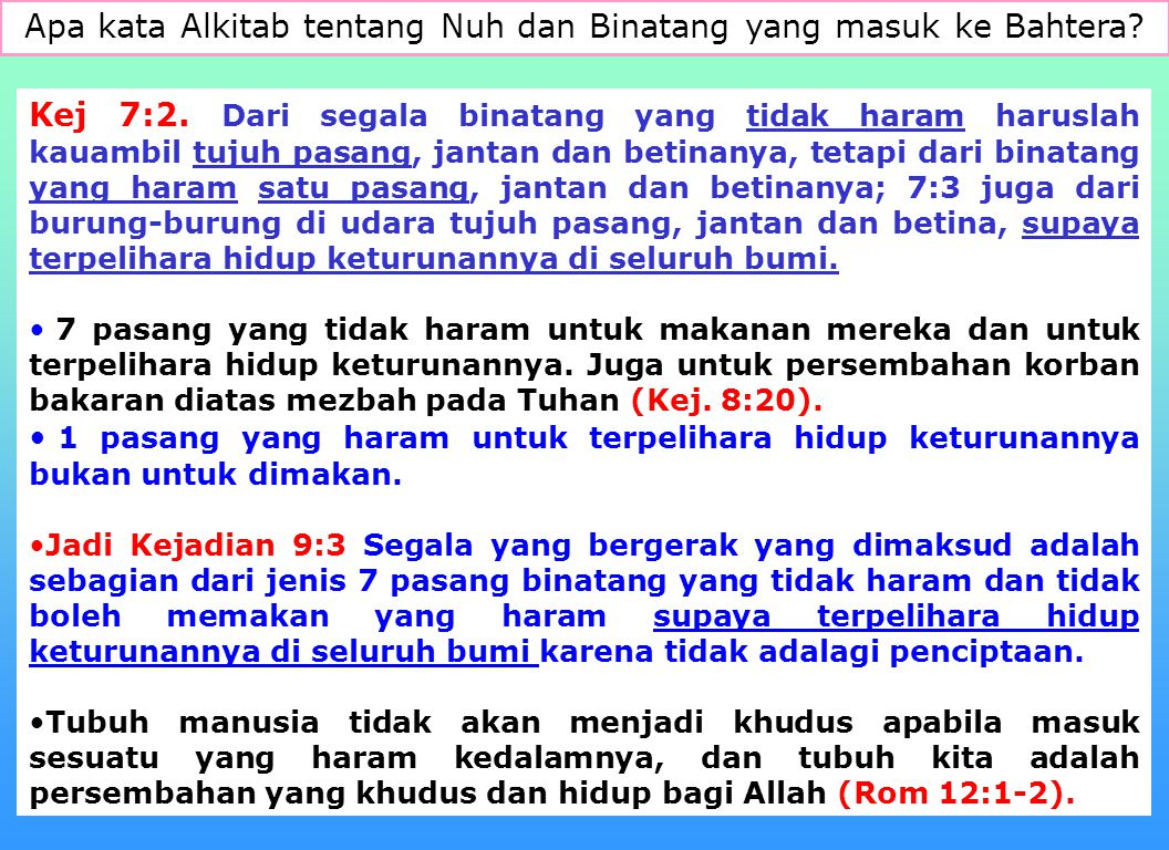 Apa kata Alkitab tentang Nuh dan Binatang yang masuk ke Bahtera