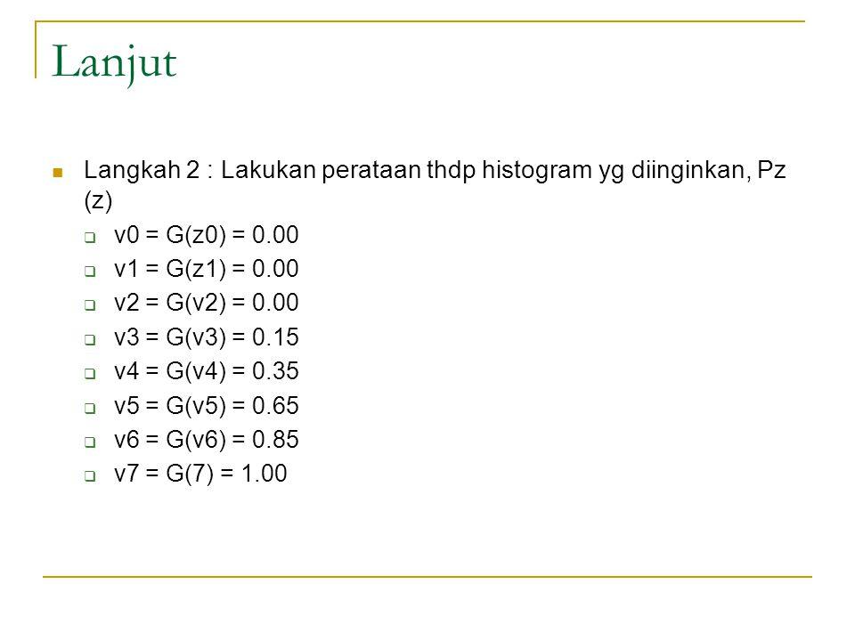 Lanjut Langkah 2 : Lakukan perataan thdp histogram yg diinginkan, Pz (z) v0 = G(z0) = 0.00. v1 = G(z1) = 0.00.