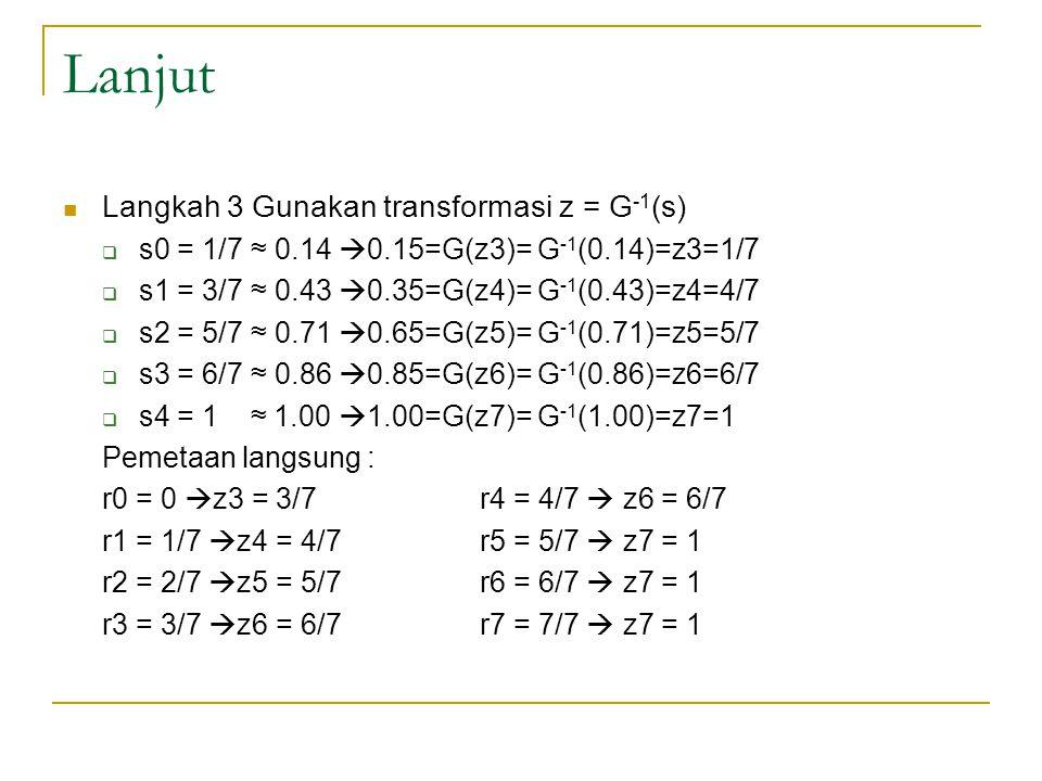 Lanjut Langkah 3 Gunakan transformasi z = G-1(s)