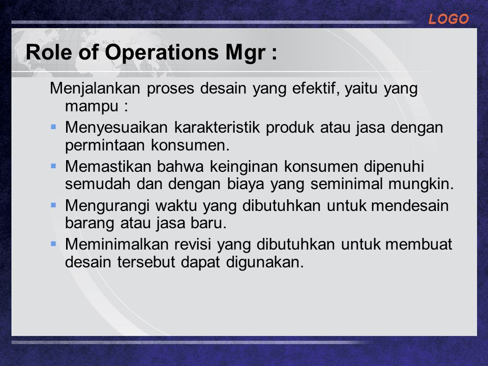 Role of Operations Mgr :