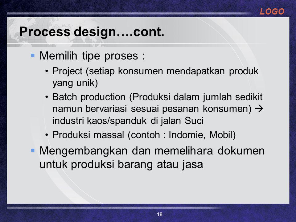 Process design….cont. Memilih tipe proses :