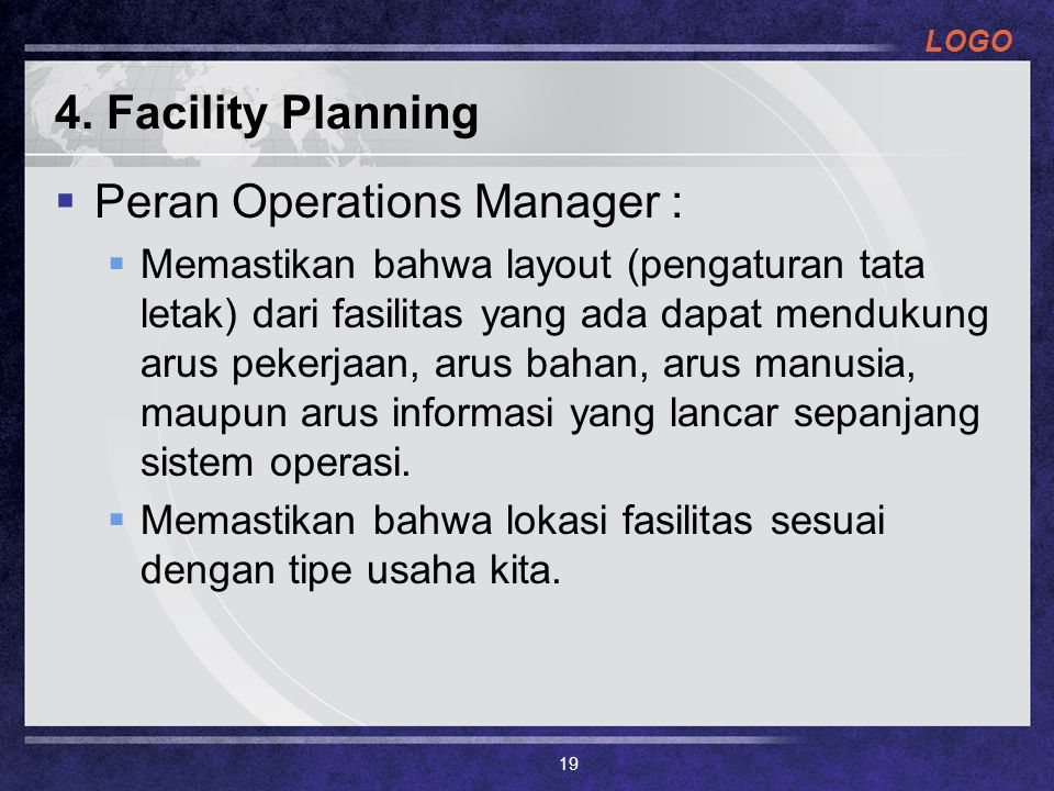 Peran Operations Manager :