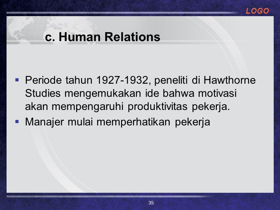 c. Human Relations Periode tahun 1927-1932, peneliti di Hawthorne Studies mengemukakan ide bahwa motivasi akan mempengaruhi produktivitas pekerja.