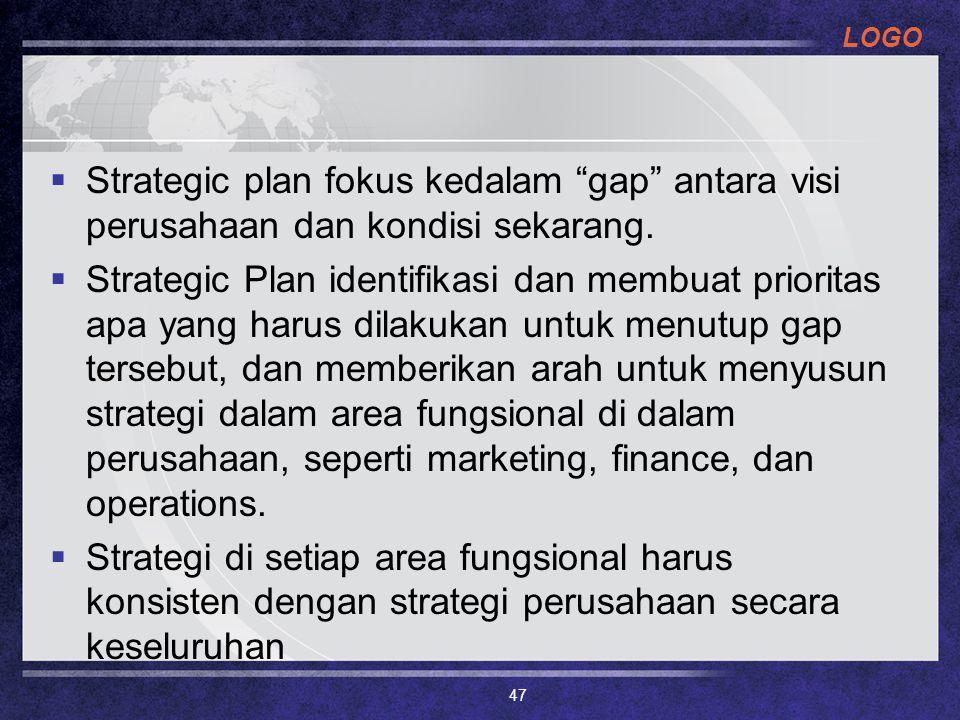 Strategic plan fokus kedalam gap antara visi perusahaan dan kondisi sekarang.