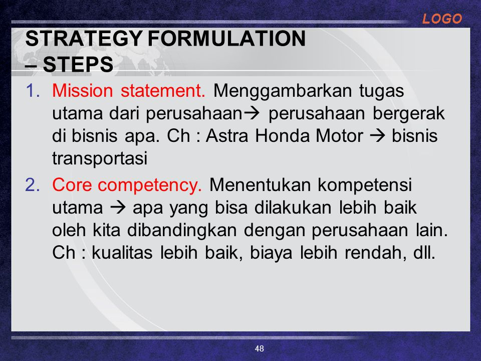 STRATEGY FORMULATION – STEPS