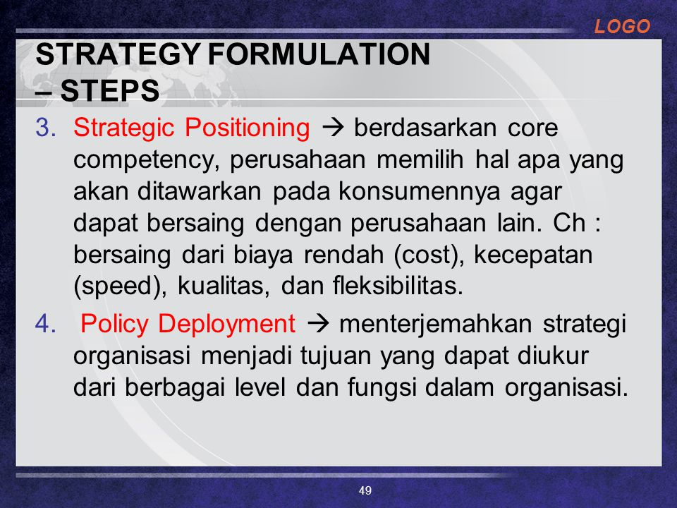 STRATEGY FORMULATION – STEPS