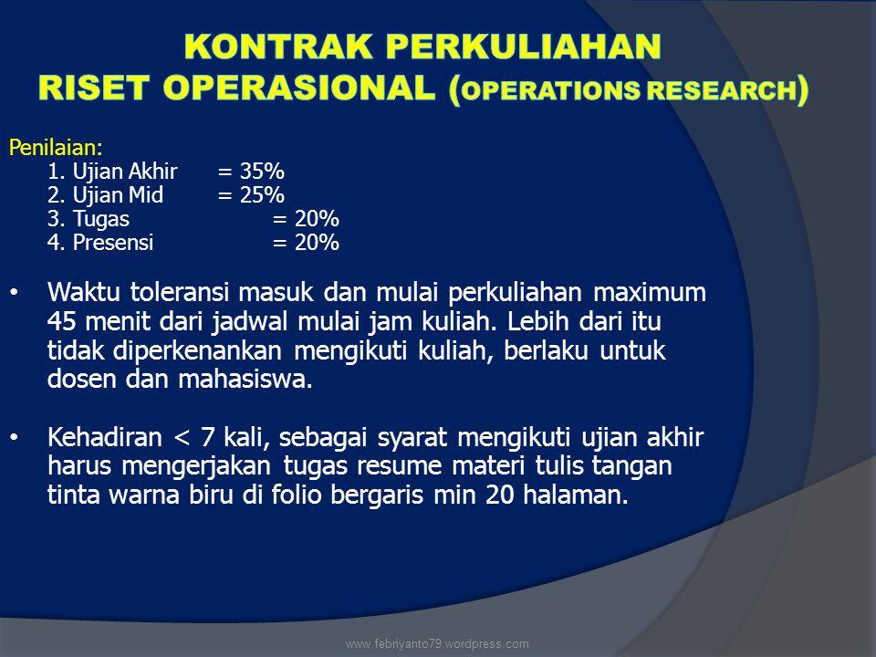 KONTRAK PERKULIAHAN RISET OPERASIONAL (Operations Research)