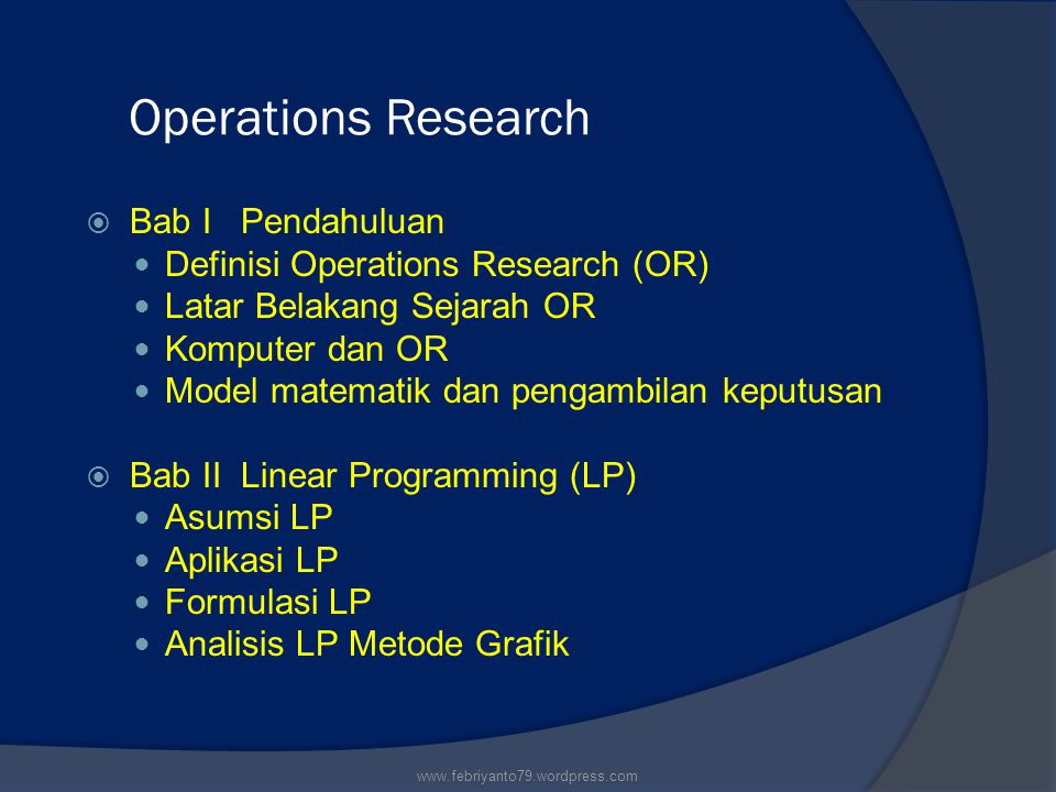 Operations Research Bab I Pendahuluan