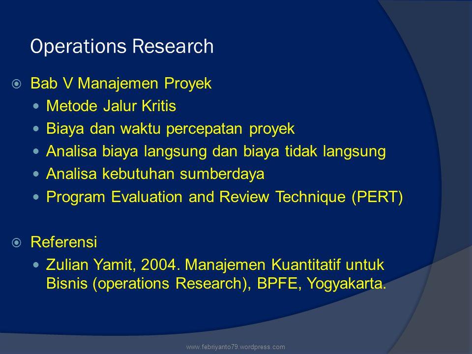 Operations Research Bab V Manajemen Proyek Metode Jalur Kritis