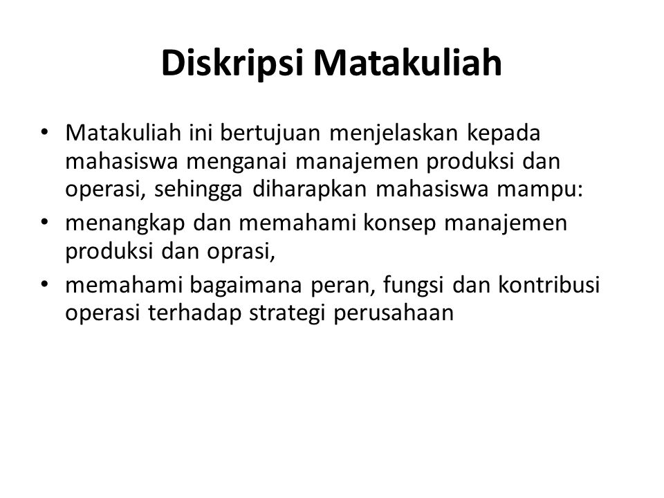 Diskripsi Matakuliah