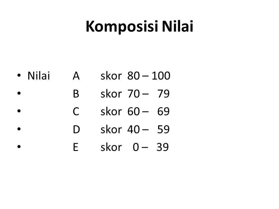 Komposisi Nilai Nilai A skor 80 – 100 B skor 70 – 79 C skor 60 – 69