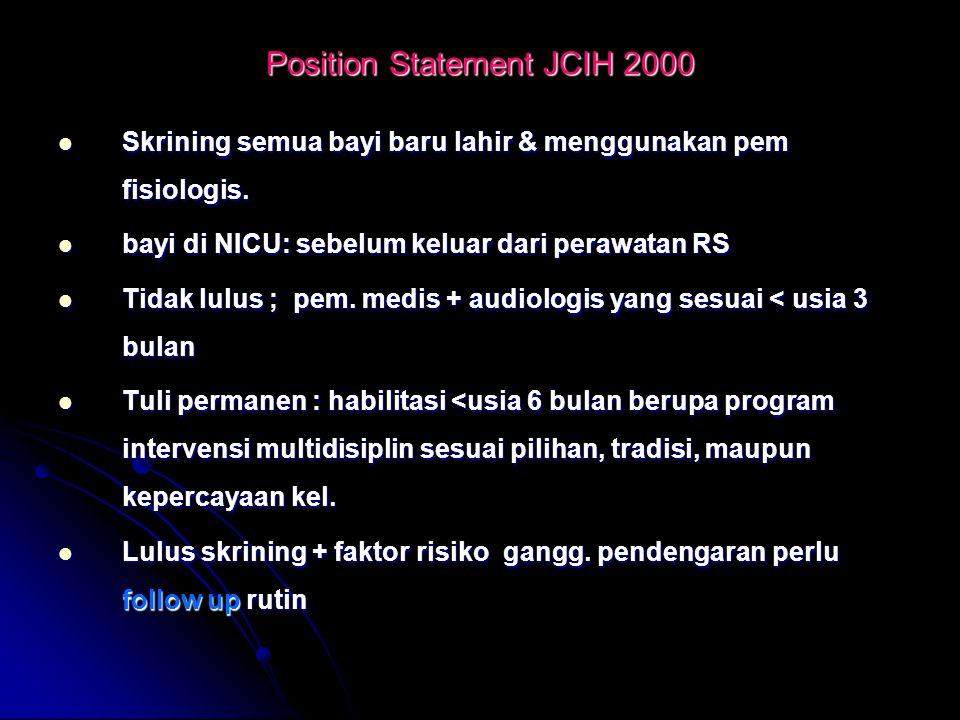 Position Statement JCIH 2000