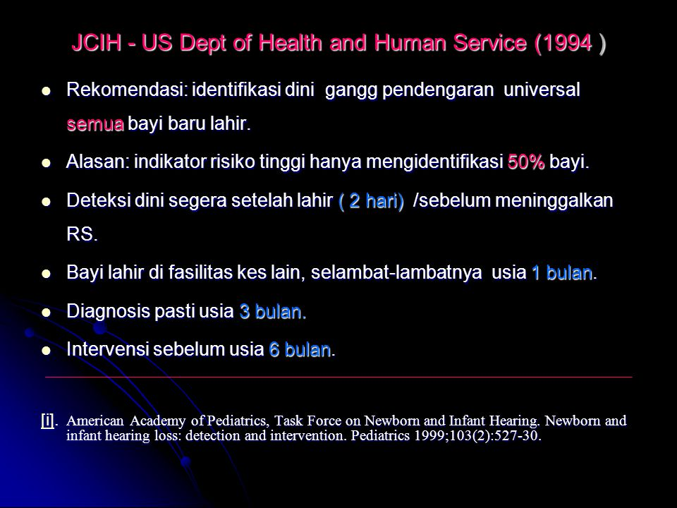 JCIH - US Dept of Health and Human Service (1994 )