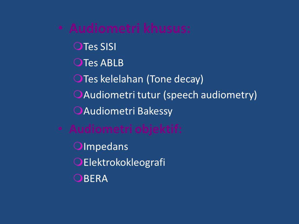 Audiometri khusus: Audiometri objektif: Tes SISI Tes ABLB