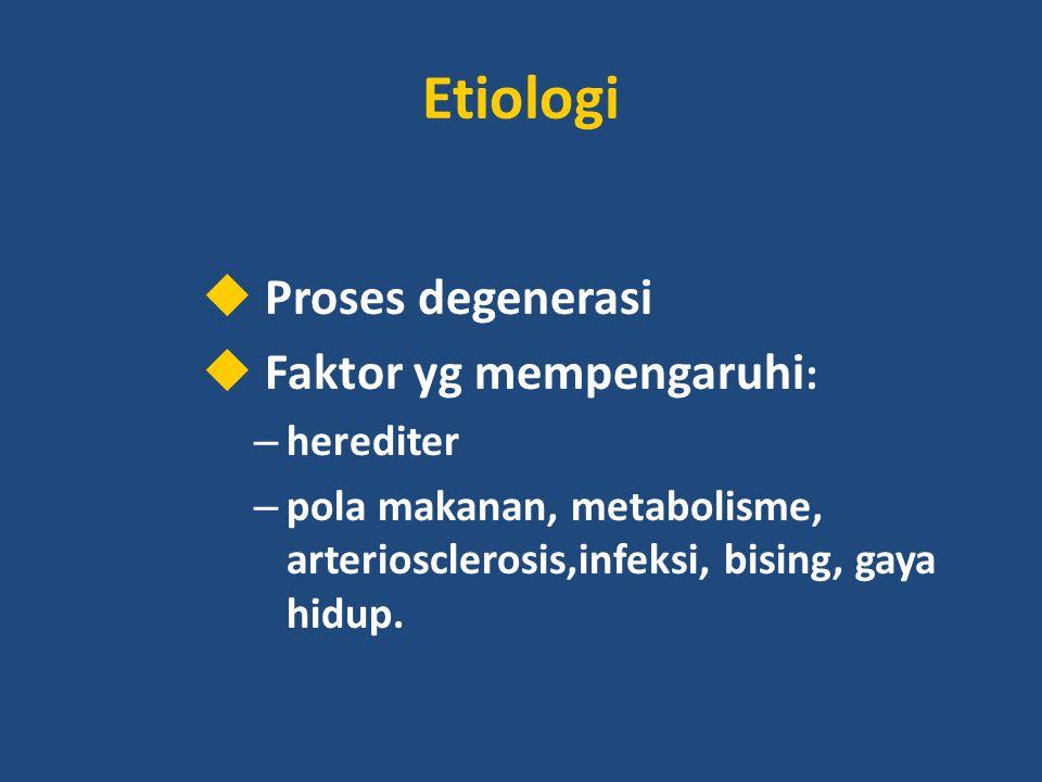 Etiologi Proses degenerasi Faktor yg mempengaruhi: herediter