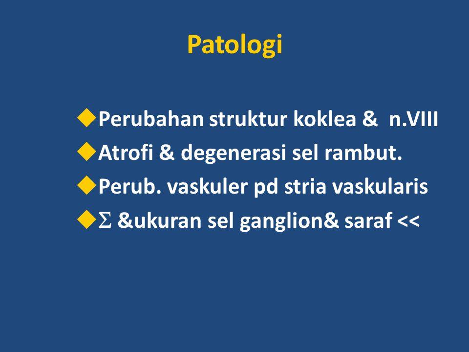 Patologi Perubahan struktur koklea & n.VIII