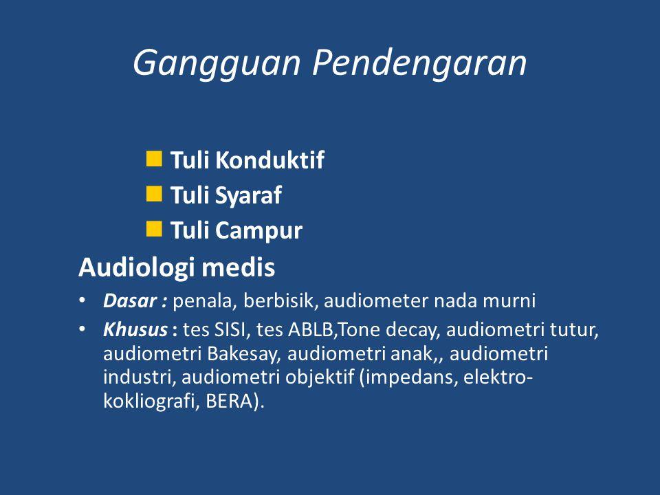 Gangguan Pendengaran Audiologi medis Tuli Konduktif Tuli Syaraf