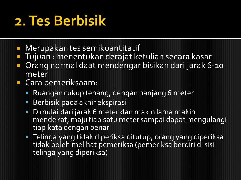 2. Tes Berbisik Merupakan tes semikuantitatif
