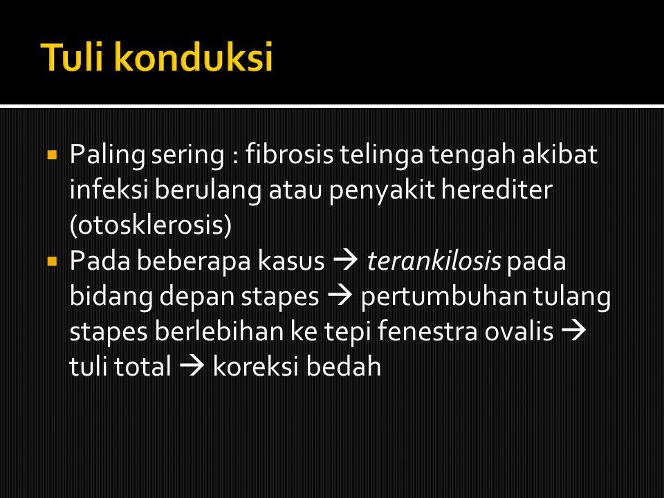 Tuli konduksi Paling sering : fibrosis telinga tengah akibat infeksi berulang atau penyakit herediter (otosklerosis)
