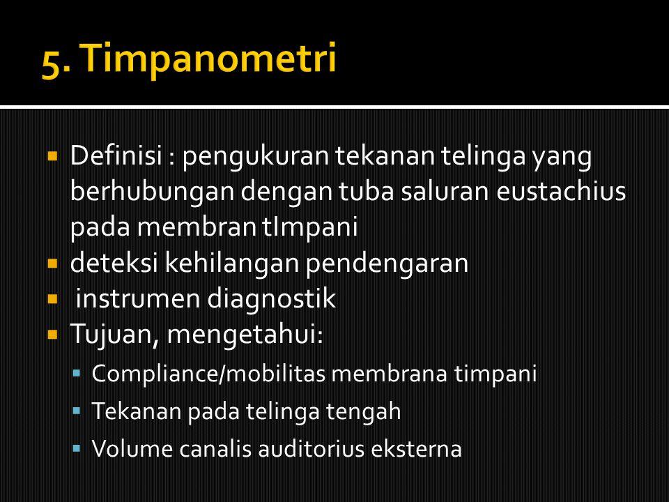 5. Timpanometri Definisi : pengukuran tekanan telinga yang berhubungan dengan tuba saluran eustachius pada membran tImpani.