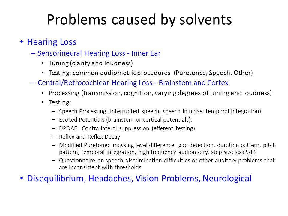Problems caused by solvents