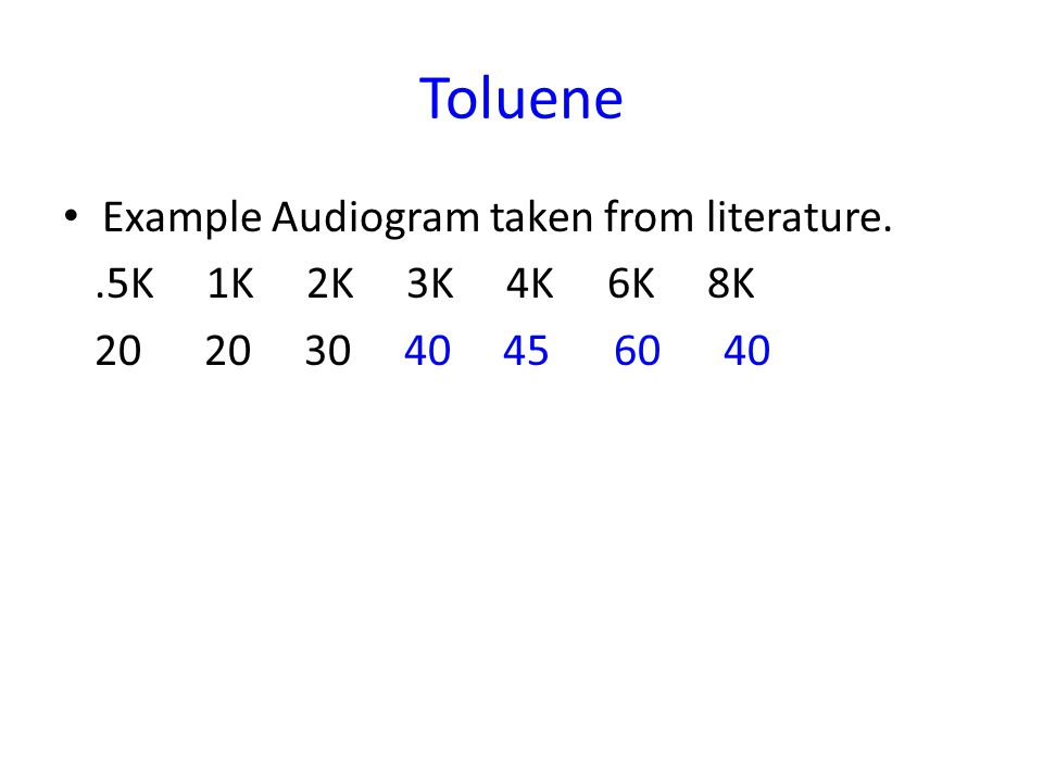 Toluene Example Audiogram taken from literature. .5K 1K 2K 3K 4K 6K 8K