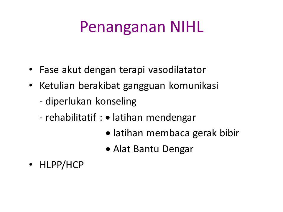 Penanganan NIHL Fase akut dengan terapi vasodilatator