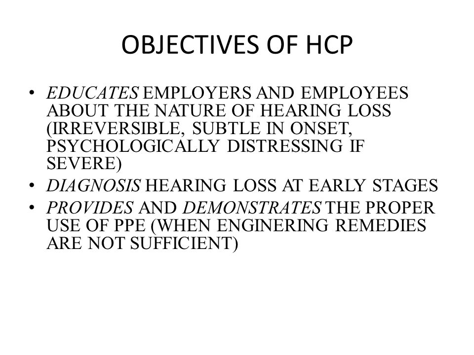 OBJECTIVES OF HCP