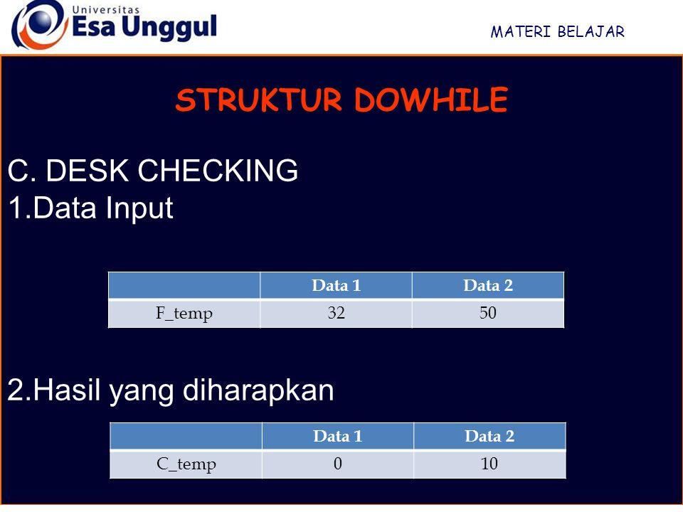 STRUKTUR DOWHILE C. DESK CHECKING Data Input Hasil yang diharapkan