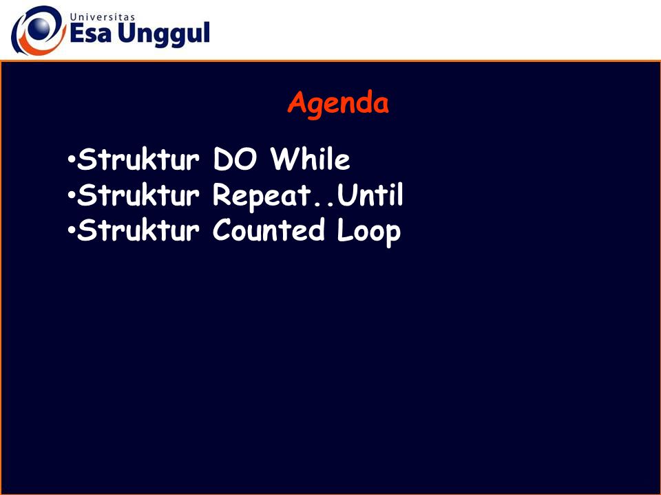 Agenda Struktur DO While Struktur Repeat..Until Struktur Counted Loop