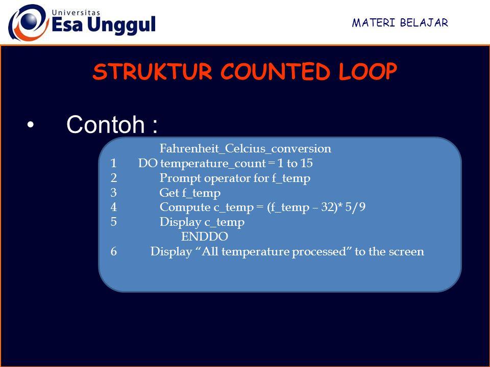 Contoh : STRUKTUR COUNTED LOOP Fahrenheit_Celcius_conversion
