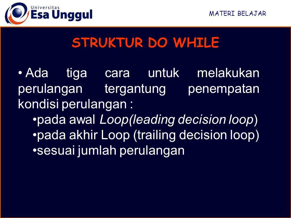 pada awal Loop(leading decision loop)