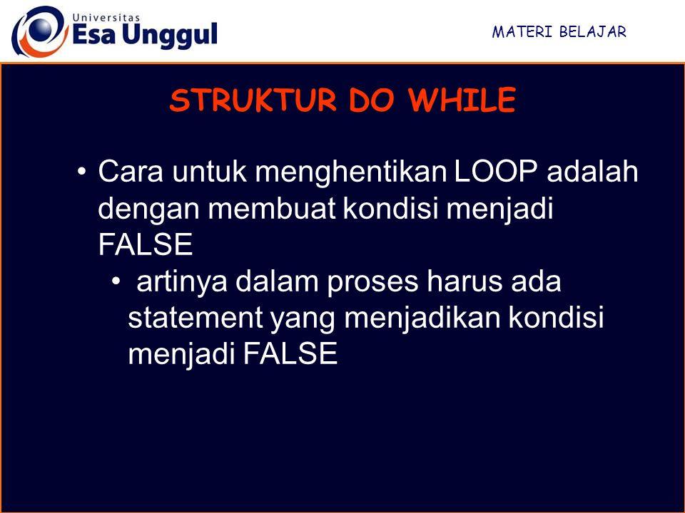 MATERI BELAJAR STRUKTUR DO WHILE. Cara untuk menghentikan LOOP adalah dengan membuat kondisi menjadi FALSE.