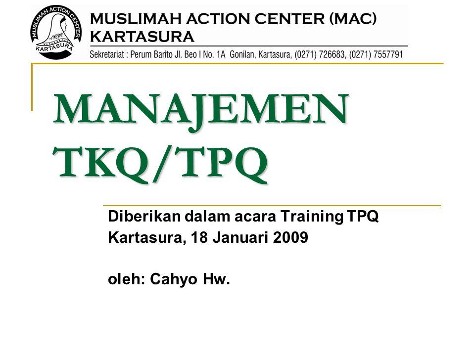 MANAJEMEN TKQ/TPQ Diberikan dalam acara Training TPQ