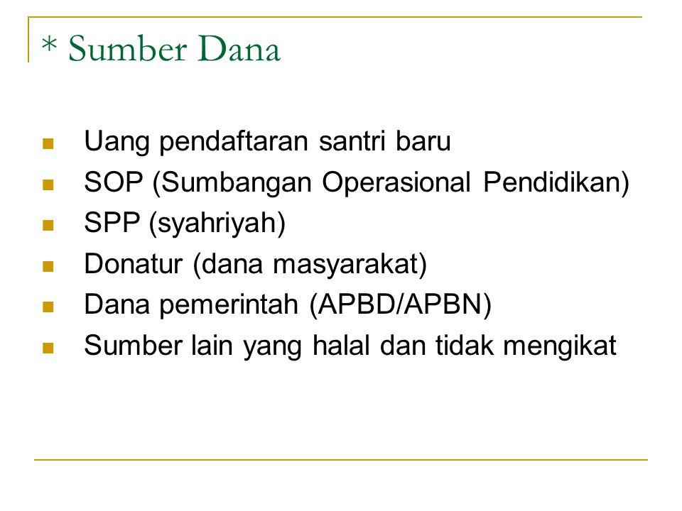 * Sumber Dana Uang pendaftaran santri baru