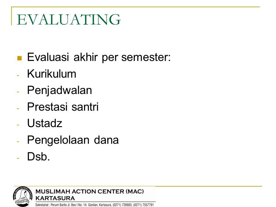 EVALUATING Evaluasi akhir per semester: Kurikulum Penjadwalan
