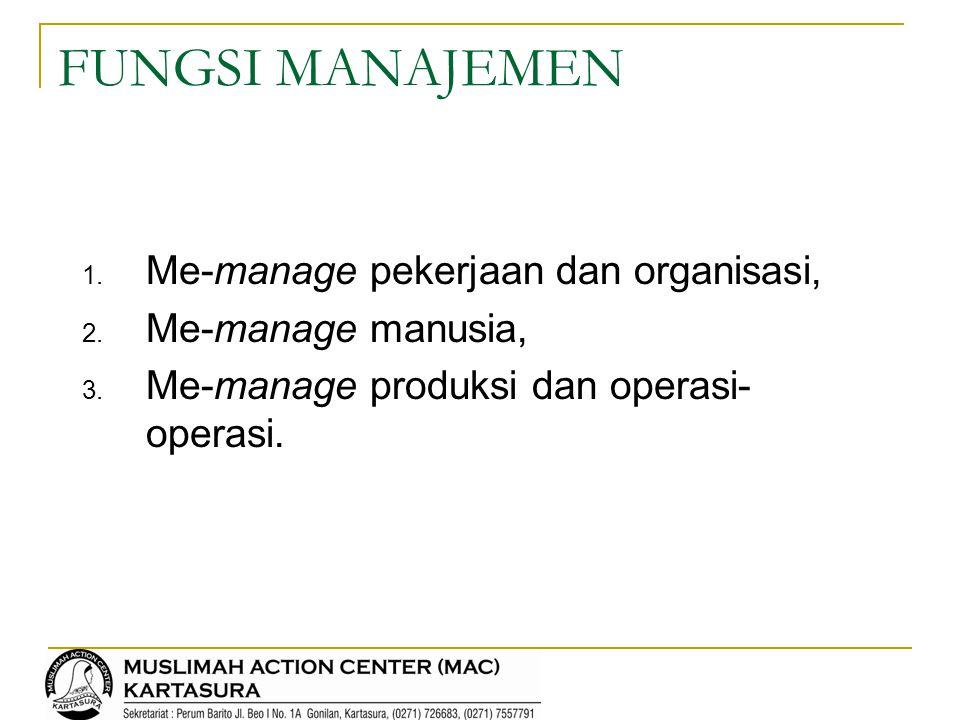 FUNGSI MANAJEMEN Me-manage pekerjaan dan organisasi,