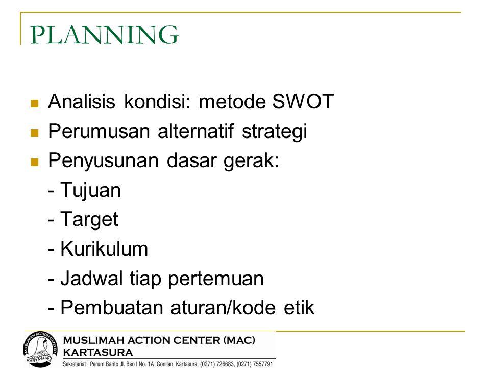 PLANNING Analisis kondisi: metode SWOT Perumusan alternatif strategi
