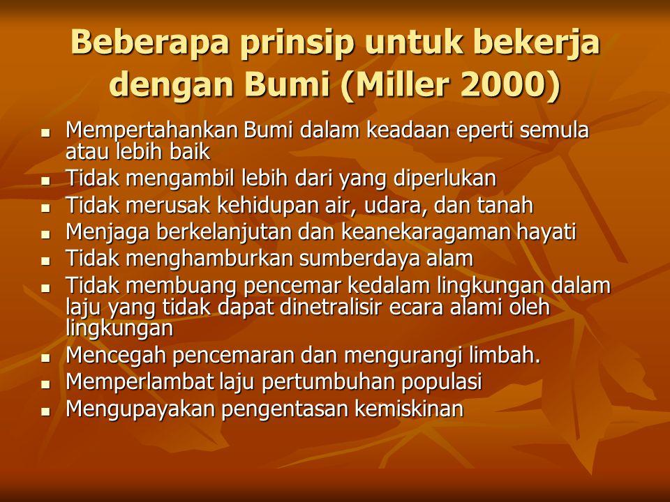 Beberapa prinsip untuk bekerja dengan Bumi (Miller 2000)