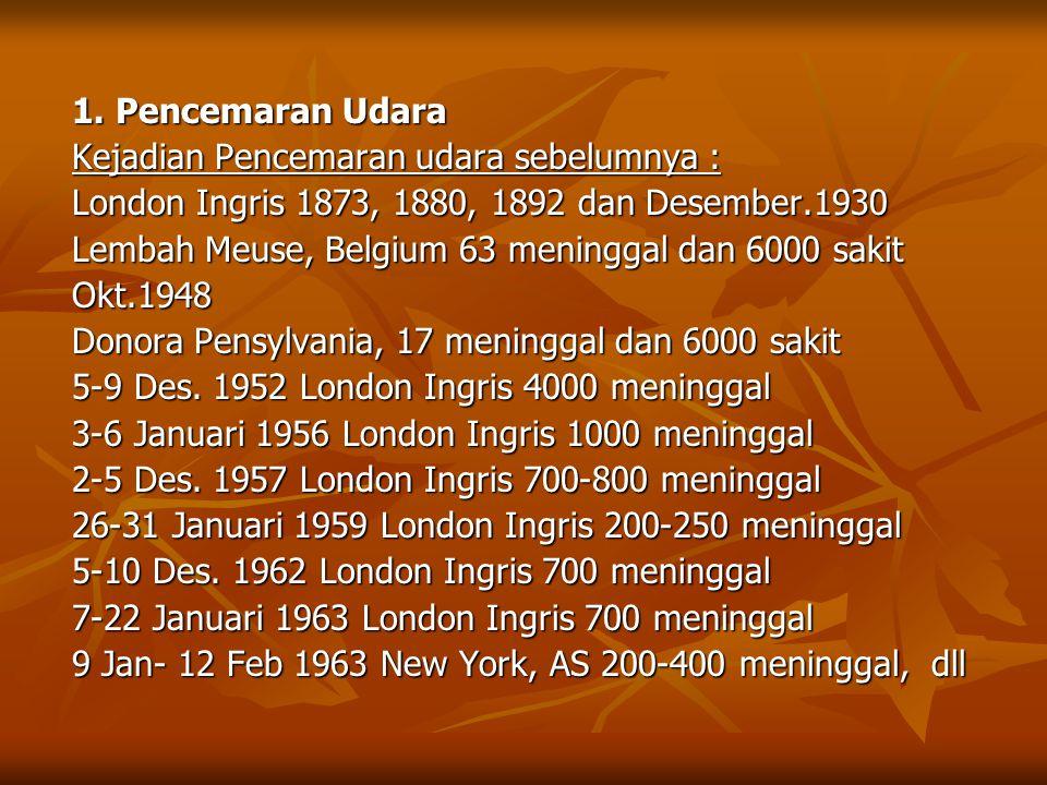 1. Pencemaran Udara Kejadian Pencemaran udara sebelumnya : London Ingris 1873, 1880, 1892 dan Desember.1930.
