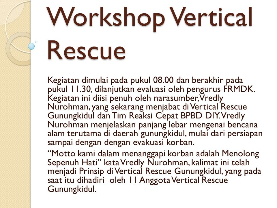 Workshop Vertical Rescue
