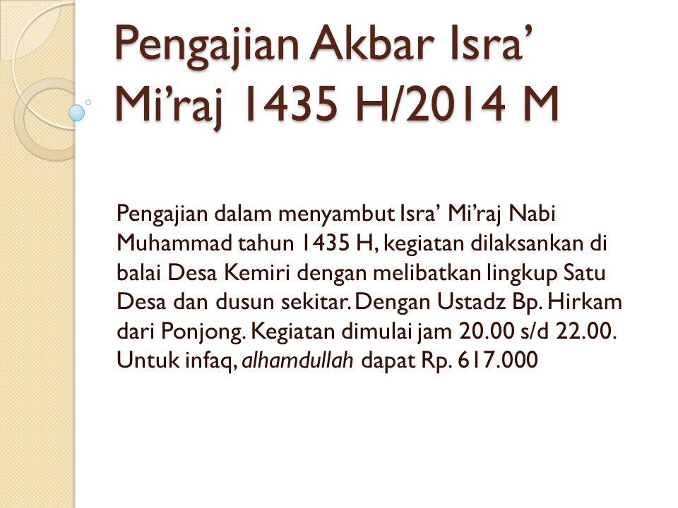 Pengajian Akbar Isra' Mi'raj 1435 H/2014 M