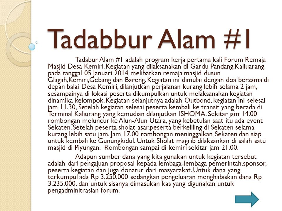 Tadabbur Alam #1