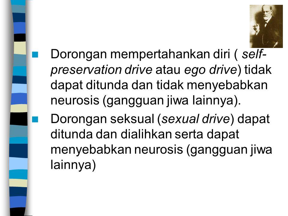 Dorongan mempertahankan diri ( self-preservation drive atau ego drive) tidak dapat ditunda dan tidak menyebabkan neurosis (gangguan jiwa lainnya).
