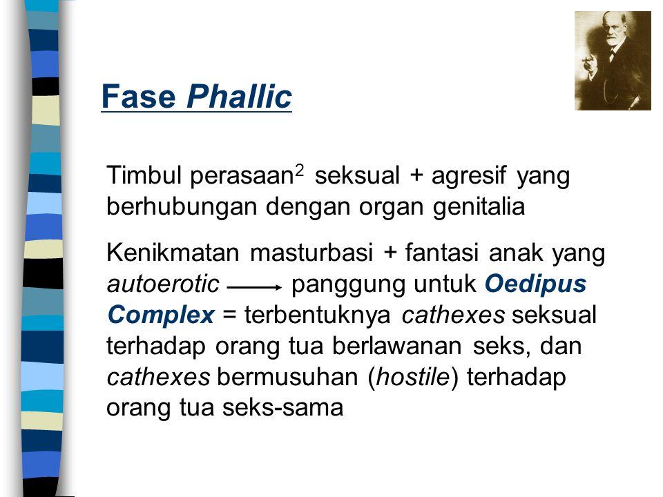 Fase Phallic Timbul perasaan2 seksual + agresif yang berhubungan dengan organ genitalia.